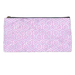 Hexagon1 White Marble & Pink Colored Pencil (r) Pencil Cases by trendistuff