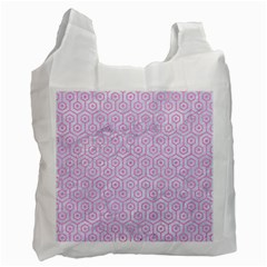 Hexagon1 White Marble & Pink Colored Pencil (r) Recycle Bag (two Side)  by trendistuff