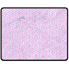 Hexagon1 White Marble & Pink Colored Pencil (r) Fleece Blanket (medium)  by trendistuff