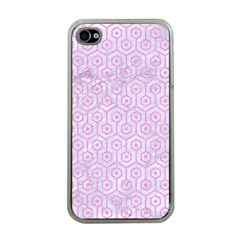 Hexagon1 White Marble & Pink Colored Pencil (r) Apple Iphone 4 Case (clear) by trendistuff