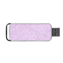Hexagon1 White Marble & Pink Colored Pencil (r) Portable Usb Flash (two Sides) by trendistuff