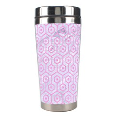 Hexagon1 White Marble & Pink Colored Pencil (r) Stainless Steel Travel Tumblers by trendistuff