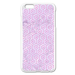 Hexagon1 White Marble & Pink Colored Pencil (r) Apple Iphone 6 Plus/6s Plus Enamel White Case by trendistuff