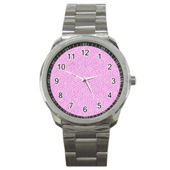 Hexagon1 White Marble & Pink Colored Pencil Sport Metal Watch by trendistuff