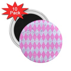 Diamond1 White Marble & Pink Colored Pencil 2 25  Magnets (10 Pack)  by trendistuff