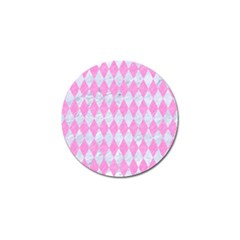 Diamond1 White Marble & Pink Colored Pencil Golf Ball Marker by trendistuff