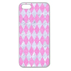 Diamond1 White Marble & Pink Colored Pencil Apple Seamless Iphone 5 Case (clear) by trendistuff