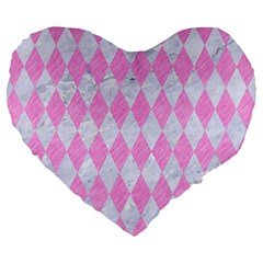 Diamond1 White Marble & Pink Colored Pencil Large 19  Premium Heart Shape Cushions by trendistuff