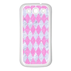 Diamond1 White Marble & Pink Colored Pencil Samsung Galaxy S3 Back Case (white) by trendistuff