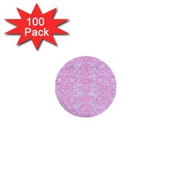 Damask2 White Marble & Pink Colored Pencil (r) 1  Mini Buttons (100 Pack)  by trendistuff