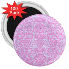 Damask2 White Marble & Pink Colored Pencil (r) 3  Magnets (100 Pack) by trendistuff
