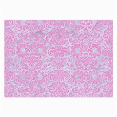 Damask2 White Marble & Pink Colored Pencil (r) Large Glasses Cloth