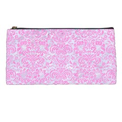 Damask2 White Marble & Pink Colored Pencil (r) Pencil Cases by trendistuff