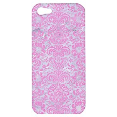 Damask2 White Marble & Pink Colored Pencil (r) Apple Iphone 5 Hardshell Case by trendistuff