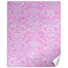 Damask2 White Marble & Pink Colored Pencil Canvas 11  X 14   by trendistuff
