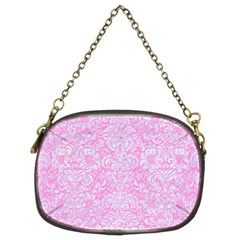 Damask2 White Marble & Pink Colored Pencil Chain Purses (two Sides)  by trendistuff