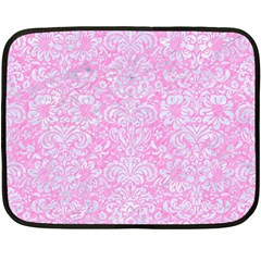 Damask2 White Marble & Pink Colored Pencil Double Sided Fleece Blanket (mini)  by trendistuff