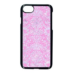 Damask2 White Marble & Pink Colored Pencil Apple Iphone 8 Seamless Case (black) by trendistuff