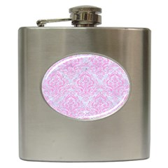 Damask1 White Marble & Pink Colored Pencil (r) Hip Flask (6 Oz) by trendistuff