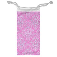 Damask1 White Marble & Pink Colored Pencil Jewelry Bags by trendistuff