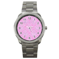 Damask1 White Marble & Pink Colored Pencil Sport Metal Watch by trendistuff