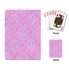 Damask1 White Marble & Pink Colored Pencil Playing Card by trendistuff
