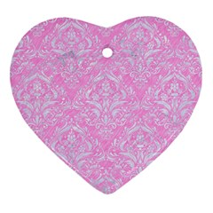 Damask1 White Marble & Pink Colored Pencil Heart Ornament (two Sides) by trendistuff