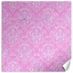 Damask1 White Marble & Pink Colored Pencil Canvas 12  X 12