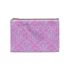 Damask1 White Marble & Pink Colored Pencil Cosmetic Bag (medium)  by trendistuff