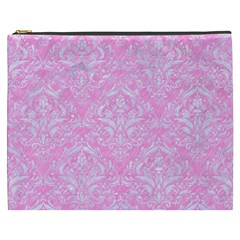 Damask1 White Marble & Pink Colored Pencil Cosmetic Bag (xxxl)  by trendistuff