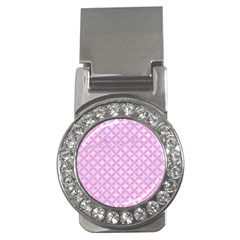 Circles3 White Marble & Pink Colored Pencil (r) Money Clips (cz)  by trendistuff