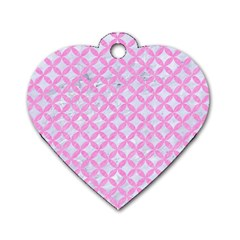 Circles3 White Marble & Pink Colored Pencil (r) Dog Tag Heart (two Sides) by trendistuff