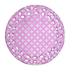 Circles3 White Marble & Pink Colored Pencil (r) Ornament (round Filigree) by trendistuff