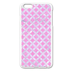 Circles3 White Marble & Pink Colored Pencil Apple Iphone 6 Plus/6s Plus Enamel White Case
