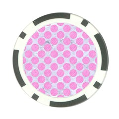 Circles2 White Marble & Pink Colored Pencil (r) Poker Chip Card Guard (10 Pack) by trendistuff