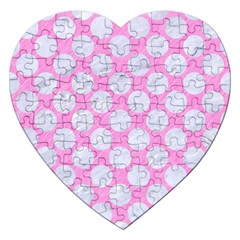 Circles2 White Marble & Pink Colored Pencil Jigsaw Puzzle (heart) by trendistuff