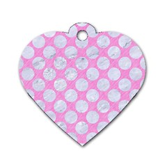 Circles2 White Marble & Pink Colored Pencil Dog Tag Heart (one Side)