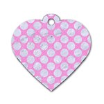 CIRCLES2 WHITE MARBLE & PINK COLORED PENCIL Dog Tag Heart (One Side) Front