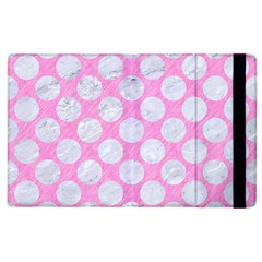 Circles2 White Marble & Pink Colored Pencil Apple Ipad 3/4 Flip Case by trendistuff