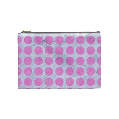 Circles1 White Marble & Pink Colored Pencil (r) Cosmetic Bag (medium)  by trendistuff