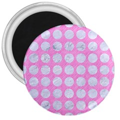 Circles1 White Marble & Pink Colored Pencil 3  Magnets by trendistuff