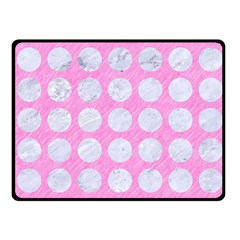Circles1 White Marble & Pink Colored Pencil Fleece Blanket (small) by trendistuff