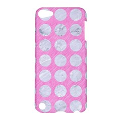 Circles1 White Marble & Pink Colored Pencil Apple Ipod Touch 5 Hardshell Case by trendistuff