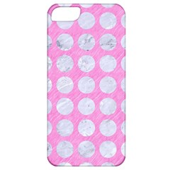Circles1 White Marble & Pink Colored Pencil Apple Iphone 5 Classic Hardshell Case by trendistuff