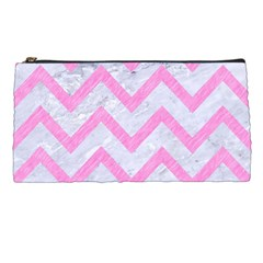 Chevron9 White Marble & Pink Colored Pencil (r) Pencil Cases by trendistuff