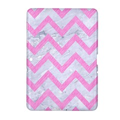 Chevron9 White Marble & Pink Colored Pencil (r) Samsung Galaxy Tab 2 (10 1 ) P5100 Hardshell Case  by trendistuff