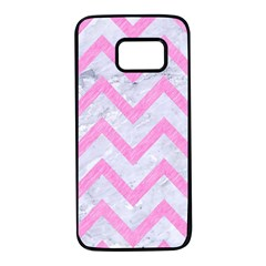 Chevron9 White Marble & Pink Colored Pencil (r) Samsung Galaxy S7 Black Seamless Case