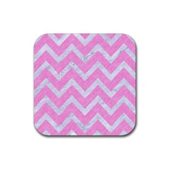 Chevron9 White Marble & Pink Colored Pencil Rubber Square Coaster (4 Pack)