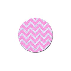 Chevron9 White Marble & Pink Colored Pencil Golf Ball Marker (4 Pack) by trendistuff