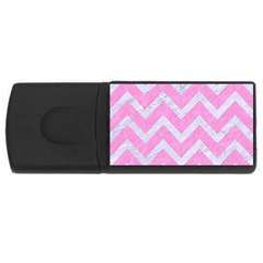 Chevron9 White Marble & Pink Colored Pencil Rectangular Usb Flash Drive by trendistuff